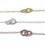 Gold, sterling silver and rose gold Pricillia bracelets