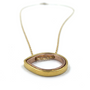 Circle Of Life necklace sideway double teardrop gold and rose gold