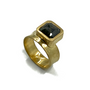 18K Ring With Rustic Green Natural Diamond