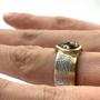 Orange Rustic Teardrop Natural Diamond Set in 14K & Sterling Silver Ring