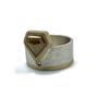 Rustic Orange Shield Natural Diamond Set in 14K Gold & Sterling Silver Ring