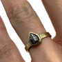 Bullet Rustic Gray Natural Diamond Set In 14K Gold Ring