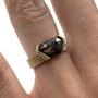 Shield Rose Cut Salt & Pepper Natural Diamond Set In 14K Gold Ring