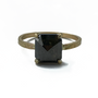Rustic Green Natural Diamond Set in 14K Gold Ring