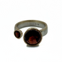 Two Red Garnets Stones Set 14K Gold And Sterling Silver Open Ring