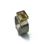 Light Yellow Citrin Set in 14K Gold and Sterling Silver Ring