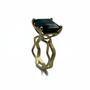 Dark Deep Blue Tourmaline Set in 14K Gold Double Crown Ring