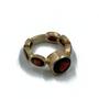 7 Red Garnets Set in 14k Gold Ring