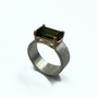 Light Green Tourmaline Set in 14K Gold and Sterling Silver Ring