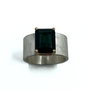 Deep Blue Tourmaline Set in 14K Gold and Sterling Silver Ring