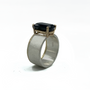 Dark Deep Blue Tourmaline Set in 14K Gold and Sterling Silver Ring With Gold Rim