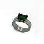 Dark Green Tourmaline Set in 14K Gold and Sterling Silver Ring