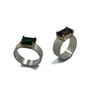 Light Green and Dark Green Tourmalines Set in 14K Gold and Sterling Silver Ring