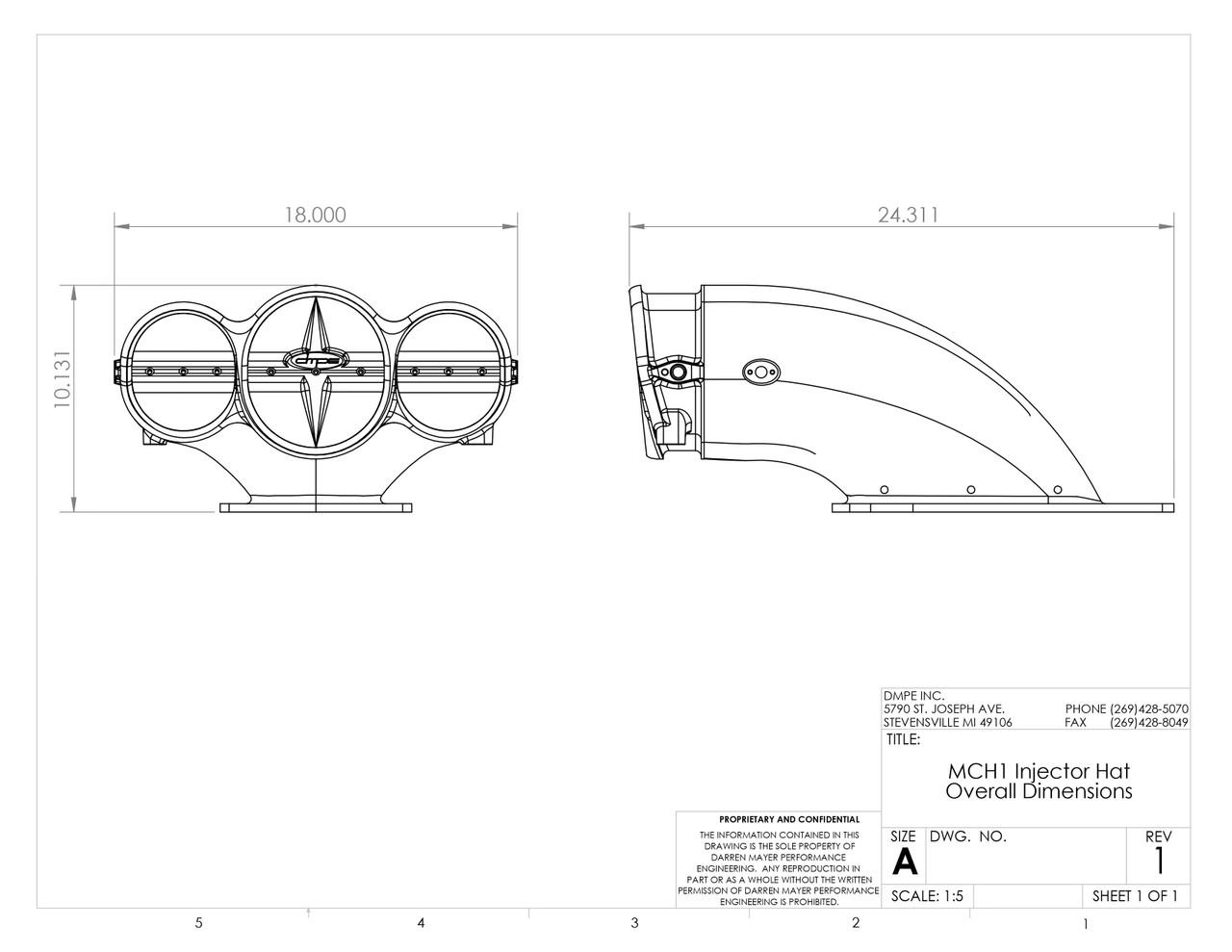"MCH1 10.5"" Carbon Fiber Injector Hat w/ Spray Bar DMPE 400-043-99-1424A I"