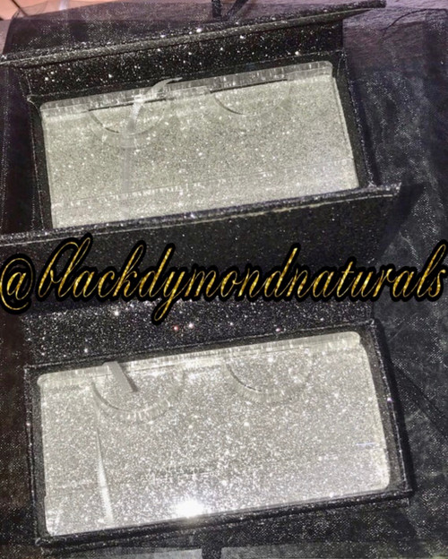 Wholesale Black Glitter Eyelash Case