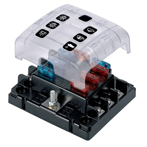 BEP ATC Six Way Fuse Holder & Screw Terminals w\/Cover & Link [ATC-6W]