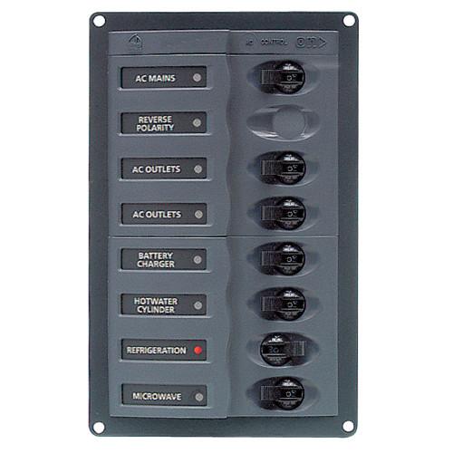BEP AC Circuit Breaker Panel w\/o Meters, 6 Way w\/Double Pole Mains [900-ACM6W-110V]