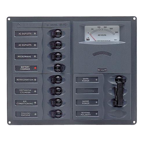 BEP AC Circuit Breaker Panel w\/Analog Meters, 8SP 2DP AC120V Stainless Steel Vertical [900-AC2H-AM-110]