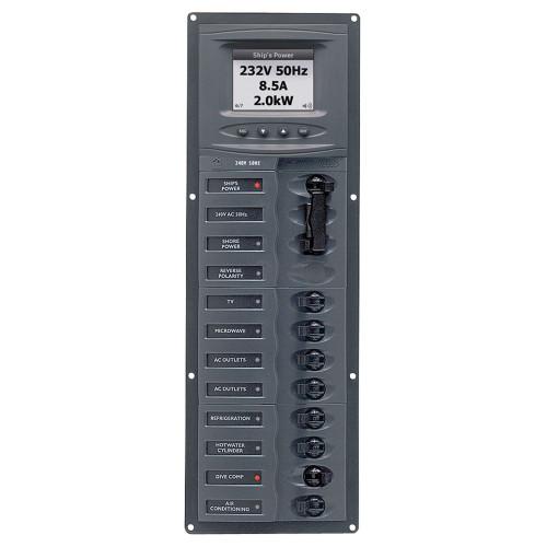 BEP AC Circuit Breaker Panel w\/Digital Meters, 8SP 2DP AC230V ACSM Stainless Steel Vertical [900-AC2V-ACSM]