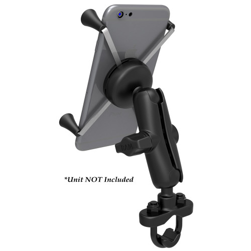 RAM Mount Handlebar Rail Mount w\/Zinc Coated U-Bolt Base  Universal X-Grip Large Phone\/Phablet Cradle [RAM-B-149Z-UN10U]