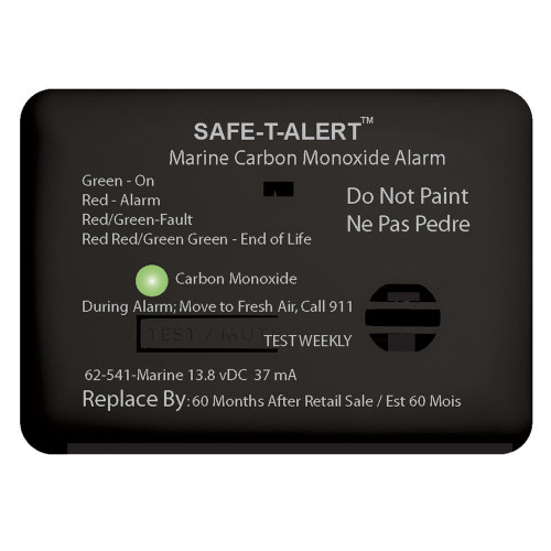Safe-T-Alert 62 Series Carbon Monoxide Alarm - 12V - 62-541-Marine - Surface Mount - Black [62-541-MARINE-BL]