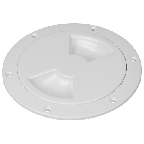 "Sea-Dog Quarter-Turn Smooth Deck Plate w\/Internal Collar - White - 6"" [336360-1]"