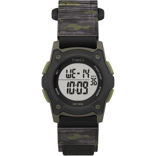 Timex Kids Digital 35mm Watch - Green Camo w\/Fastwrap Strap [TW7C77500XY]