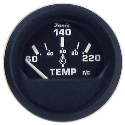 "Faria Euro Black 2"" Cylinder Head Temperature Gauge (60 to 220 F) with Sender [12819]"