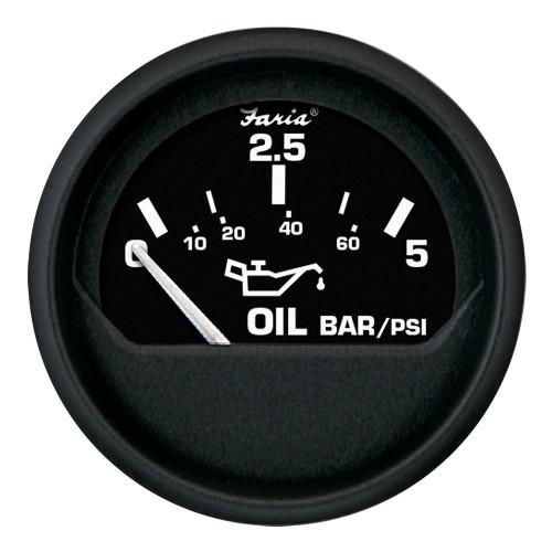 """Faria Euro Black 2"""" Oil Pressure Gauge - Metric (5 Bar) [12805]"""