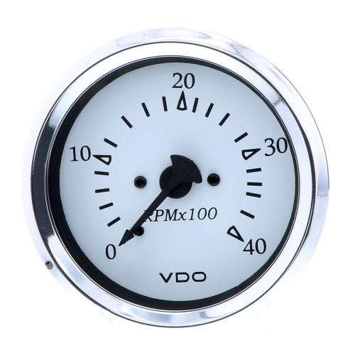 """VDO Cockpit Marine 85MM (3-3\/8"""") Diesel Tachometer - Alternator Input - White Dial\/Chrome Bezel [333-15272]"""