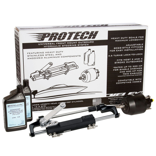 Uflex PROTECH 2.1 Front Mount OB Hydraulic System - Includes UP28 FM Helm Oil  UC128-TS\/2 Cylinder - No Hoses [PROTECH 2.1]