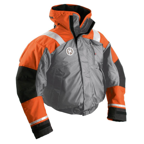 First Watch AB-1100 Flotation Bomber Jacket - Orange\/Grey - Small [AB-1100-OG-S]