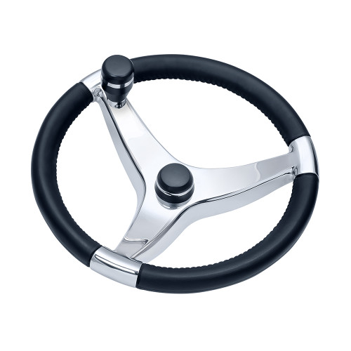 "Schmitt  Ongaro Evo Pro 316 Cast Stainless Steel Steering Wheel w\/Control Knob - 15.5"" Diameter [7241521FGK]"