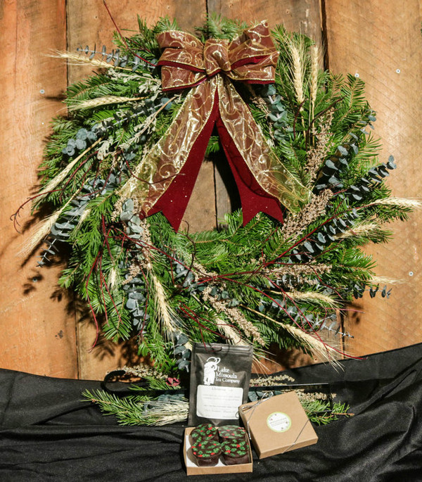 A Gift Package containing *Montana Select Wreath *4 Chocolate Truffles *Montana Spice Christmas Tea *Door Hanger for your wreath