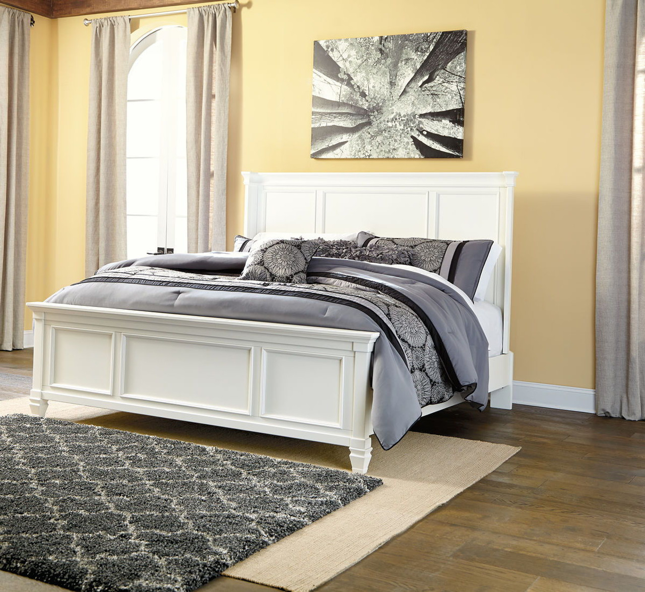 white panel bed king