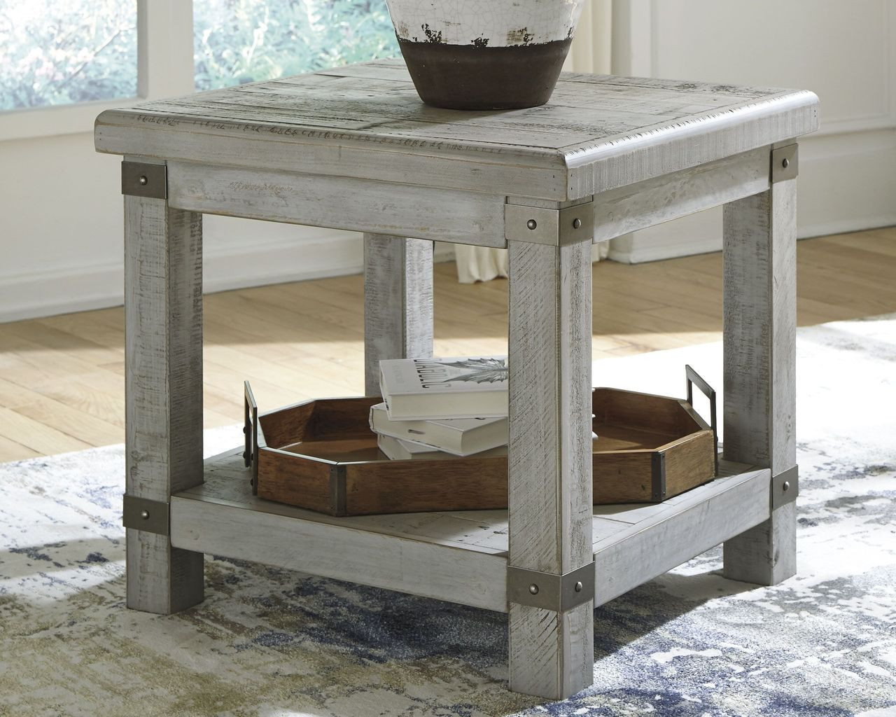 Picture of: The Carynhurst White Wash Gray Rectangular End Table Available At Affordable Furniture Serving Avon Ma