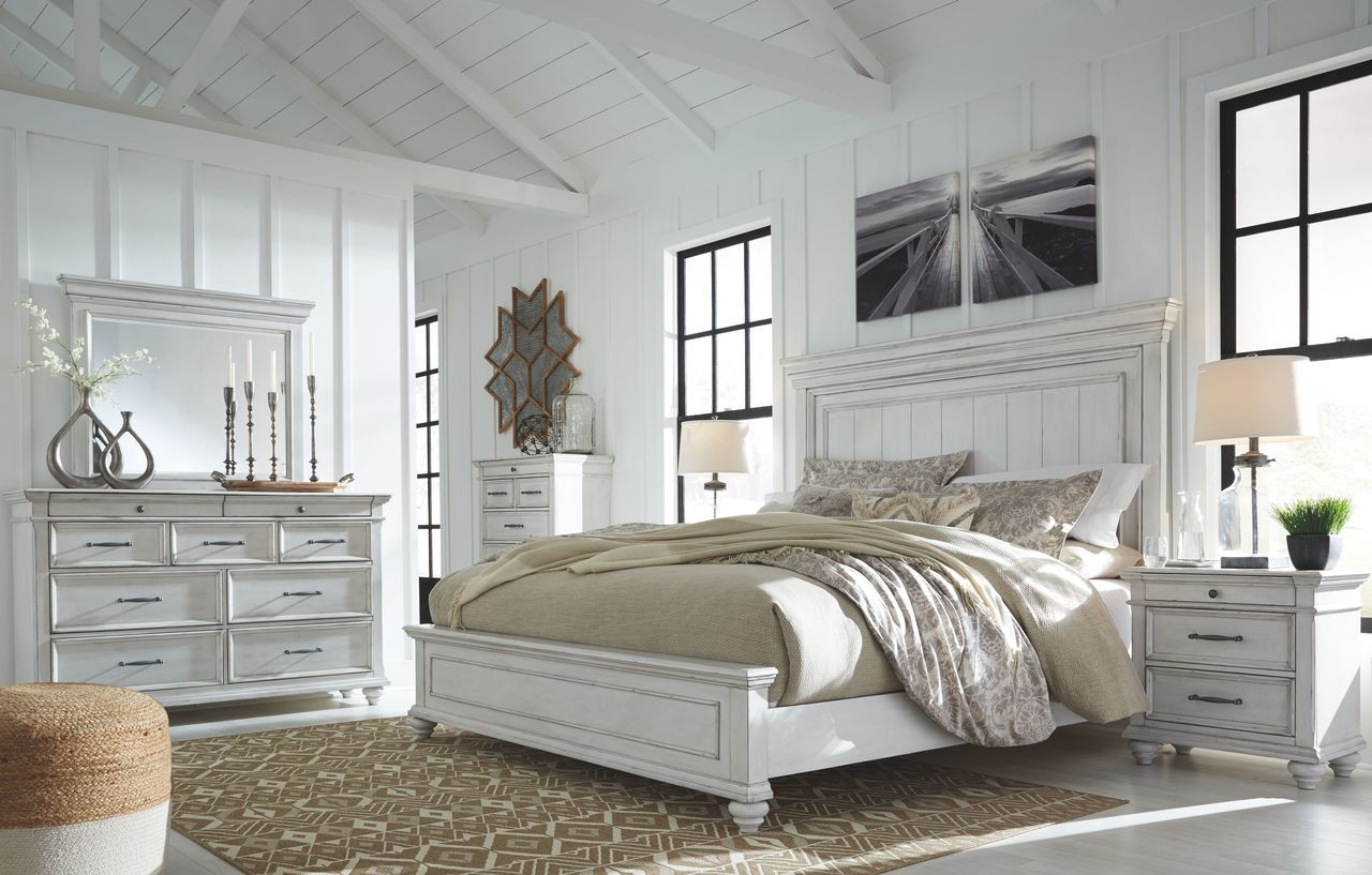 The Kanwyn Whitewash 5 Pc Dresser Mirror California King Panel Bed Available At Affordable Furniture Serving Avon Ma