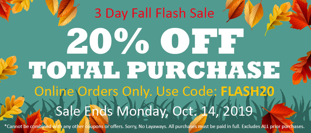 3 Day Fall Sale 20% off online orders