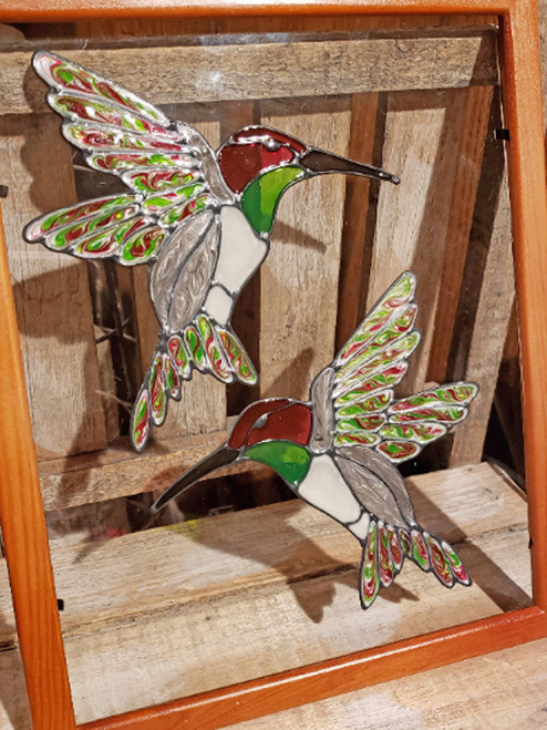 Hummingbird Faux Stained Glass Window Cling Set