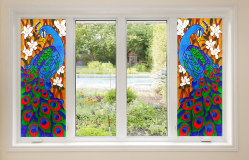 Peacock Faux Stained Glass Window Film