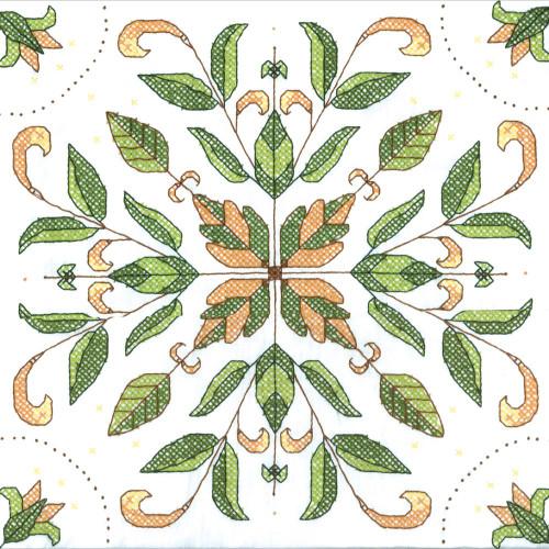 Stamped Cross Stitch Quilt Blocks - Antique Foliage
