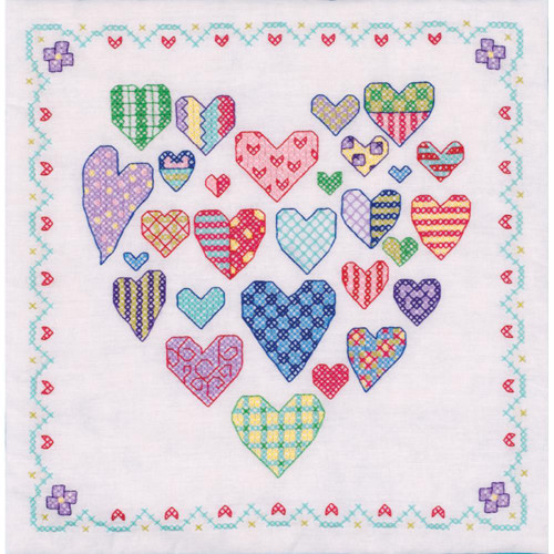 Stamped Cross Stitch Quilt Blocks - Heart Filled W/Hearts