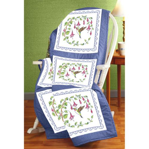 Stamped Cross Stitch Quilt Blocks - Hummingbird