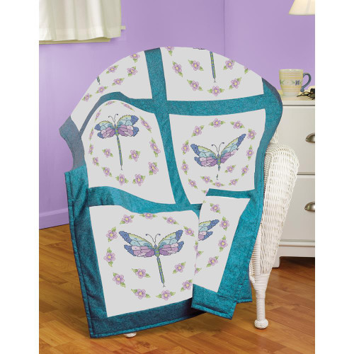 Stamped Cross Stitch Quilt Blocks - Dragonfly