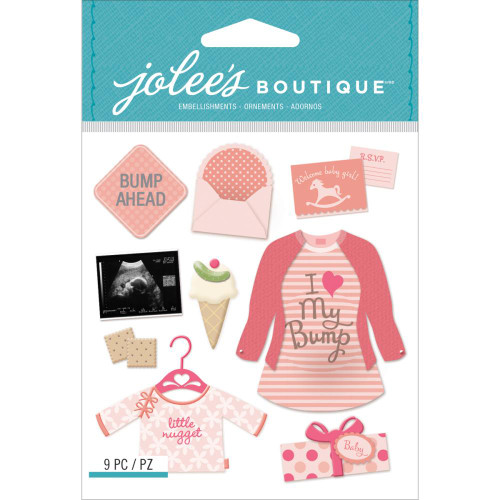 Jolee's Boutique Dimensional Stickers - Baby Girl Pregnancy
