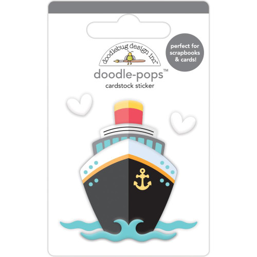 Doodlebug Doodle-Pops 3D Stickers - Bon Voyage, I Heart Travel