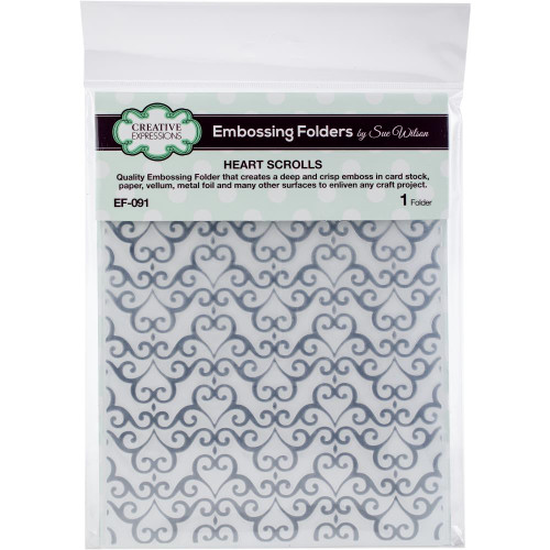 Creative Expressions Embossing Folder - Heart Scrolls