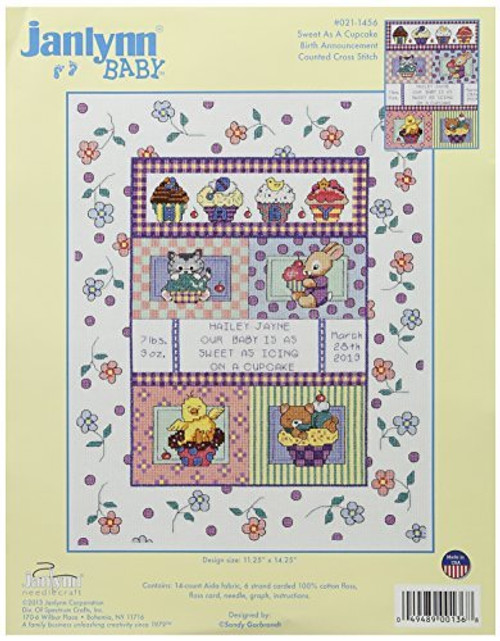 Janlynn Counted Cross Stitch Kit - Sweet As A Cupcake Sampler