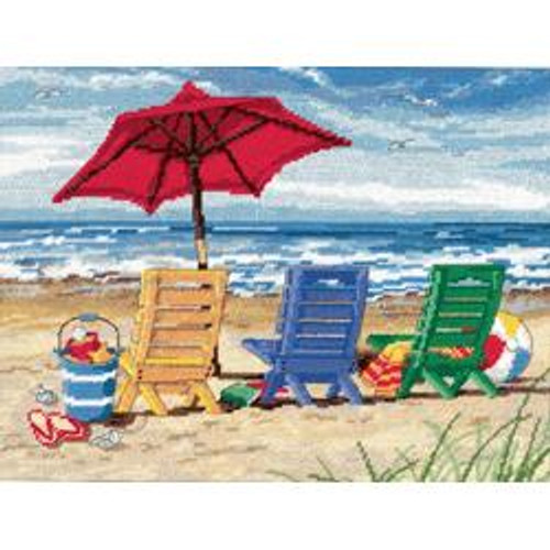 Dimensions Needlepoint Kit - Beach Chair Trio