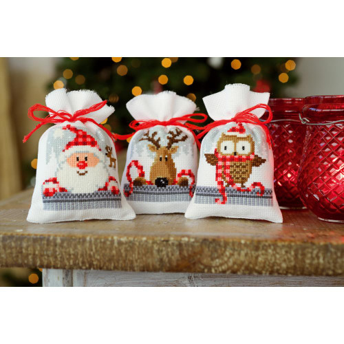 Vervaco Sachet Bags Counted Cross Stitch Kit - Xmas Buddies